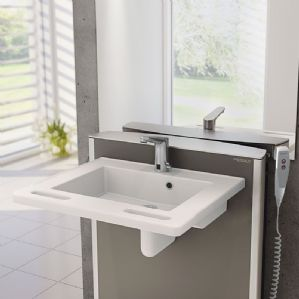 Pressalit MATRIX SMALL Height-Adjustable Wash Basin - Electric Hand Control